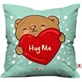 Indigifts Poly Satin Teddy Bear Print Cushion Cover with Filler (12x12-inches, Green and White)