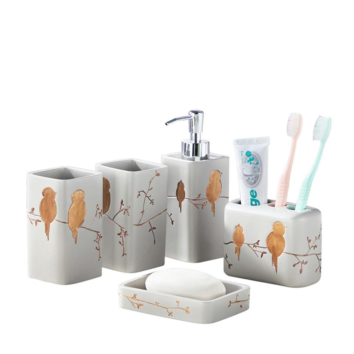 PLYY Conjunto de Cinco Piezas de Baño Birdie Accesorios de Baño Set de Regalo de Baño Jabonera, Dispensador de Loción, Portacepillos y Vaso, B: Amazon.es: ...