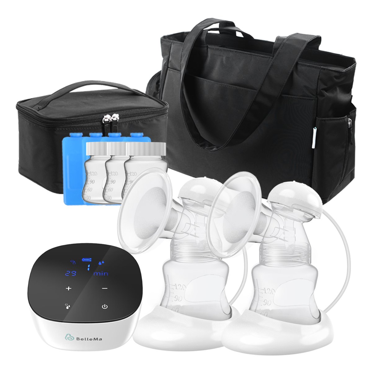 BelleMa E5 Hospital Grade Breast Pump, 2 Modes & 9 Suction Levels Double Breast Pump, LCD Touch Control, Memory Function, Li-Battery Silent Breast Pump for Travel/Office/Home Use (E5 Bundle)