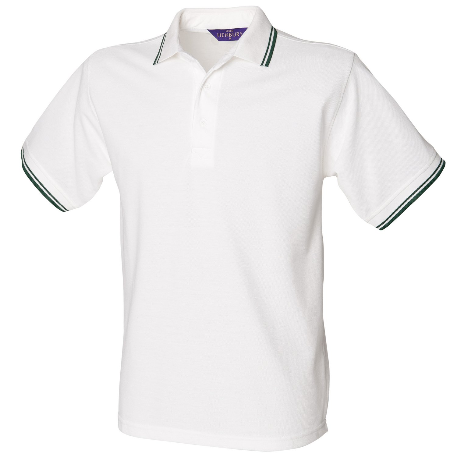 Con punta de Henbury 65/35 Polo Blanco/Verde botella L: Amazon.es ...