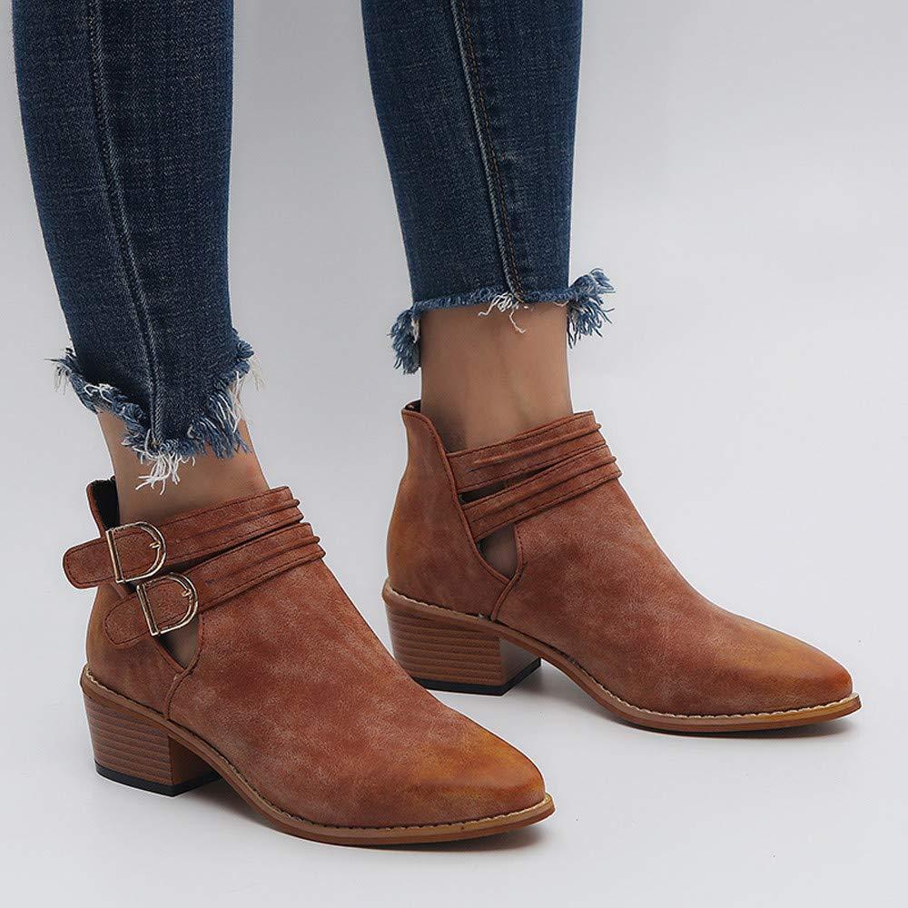 Mujer Otoño Invierno Cómodo Plana Hebilla Botas Altas Botines cuña para Mujer Otoño Invierno 2018 Zapatos de tacón Negro de Mujer Zapatos de Trabajo Mujer ...