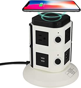 Power Strip Tower VILONG Multi Outlets Surge Protector Wireless Desktop Charging Station with 6 AC Outlets 4 USB Ports(5V/3.4A) 5.9ft Extension Cord for Home-Office-Room Ports Universal Socket Tower