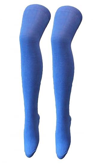 Calcetines OTK de licra, color liso, por encima de la rodilla, elásticos, para mujer y niña azul mujeres: 4-6: Amazon.es: Juguetes y juegos