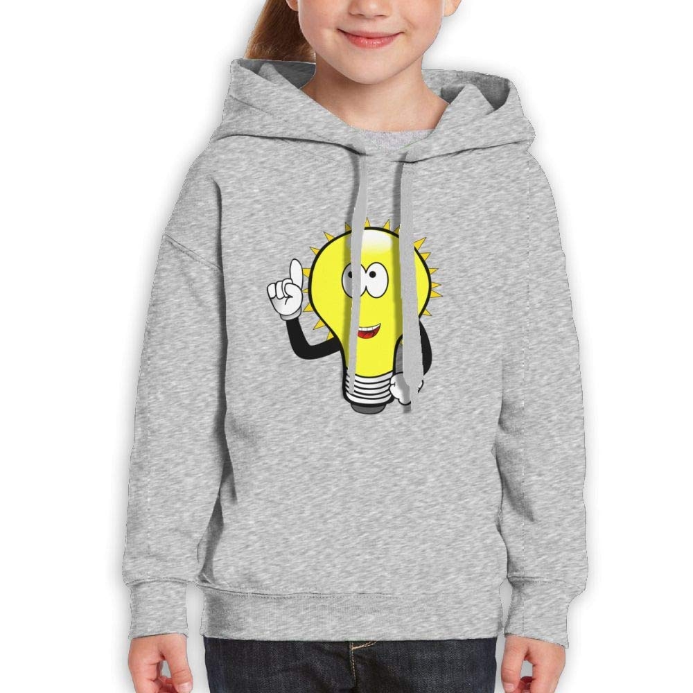 Qiop Nee Cartoon Light Bulb Man Unisex Hoodie Print Long Sleeve Sweatshirt Girls'