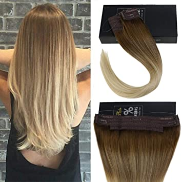 Sunny 20inch Balayage Ombre Halo Human Hair Extensions 100g Medium Brown  Fading to Bleach Blonde