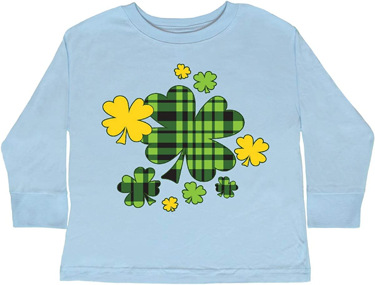 Patricks Day Plaid Green and Yellow Toddler Long Sleeve T-Shirt inktastic St