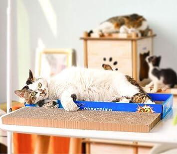Muodu - Rascador de Gatos de cartón con Caja, cartón Corrugado, Almohadilla para rascar Gatos, Gato Incluido.: Amazon.es: Productos para mascotas