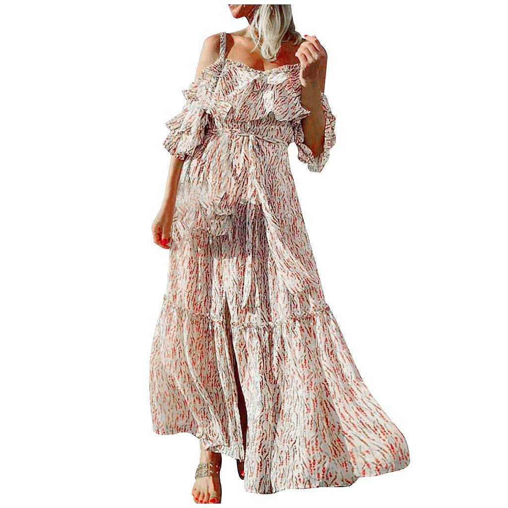 Off Shoulder Dress for Women Fashion Women Sexy Sleeveless Off Shoulder Printing Backless Party Long Dress Lover' Gift (WhiteWhite)