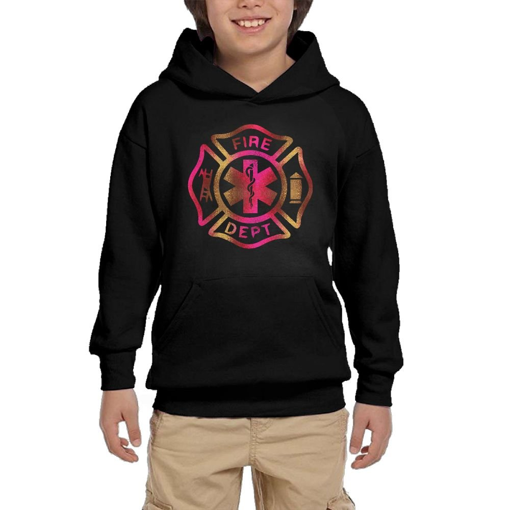 Hapli Youth Black Hoodie Firefighter Fire Department Rescue EMT Hoody Pullover Sweatshirt Pocket Pullover For Girls Boys L by Hapli