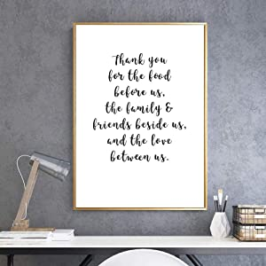 ZLARGEW Thank You for The Food Before Us Kitchen Decor Canvas Paintings Black and White Pop Wall Art Posters Pictures Home Decoration - 30x40cm No Frame