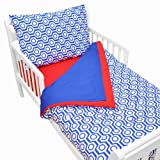 American Baby Company 100% Cotton Percale 4-piece Toddler Bedding Set, Royal Hexagon