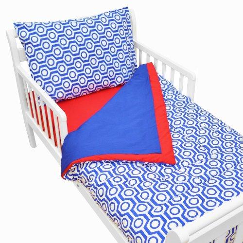American Baby Company 100% Cotton Percale 4-piece Toddler Bedding Set, Royal Hexagon Usa 4 Piece Toddler Bedding