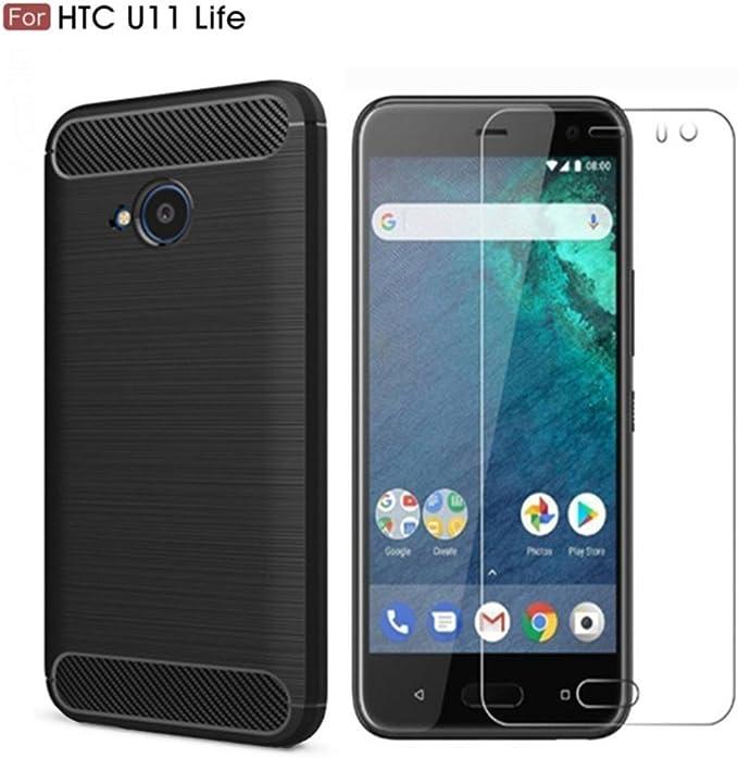 Funda HTC U11 Life (Protector de Pantalla +Funda),Vicstar Funda HTC U11 Life [Fuerza elástica] Durabilidad Flexible,Carcasa Protectora de TPU Duradera, HTC U11 Life ...
