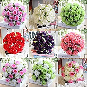 Han Shi Bridal Bouquet, Artificial Silk Roses Flowers Wedding 18 Head Floral 5