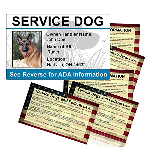 Service Dog ID Card with FREE 5-pack of service dog info handout cards (Certify Your Dog As A Service Dog)