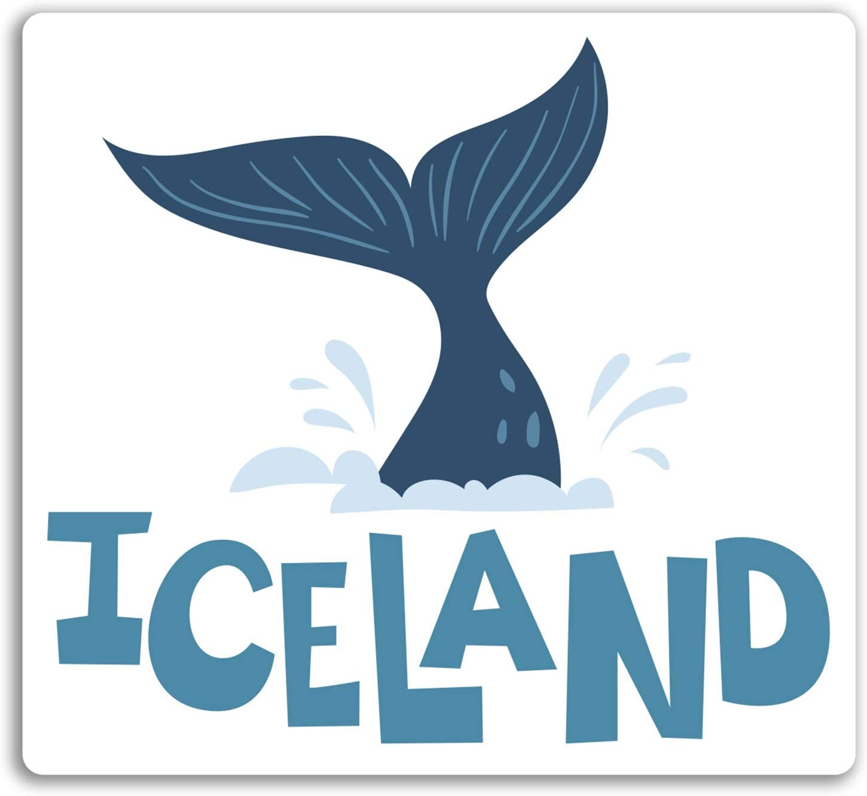 2 x 10 cm Diversi/ón Islandia pegatinas de vinilo Viajes ballena etiqueta de equipaje port/átil # 17961 10 cm de ancho