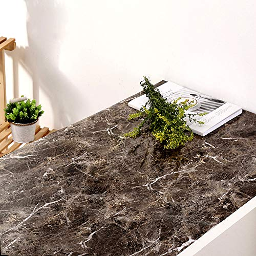 YENHOME Faux Marble Countertops Peel and Stick 24 x 118 inch Sandstone Black Marble Contact Paper for Countertop Waterproof Wallpaper Self Adhesive Shelf Liner for Kitchen Cabinets Cover