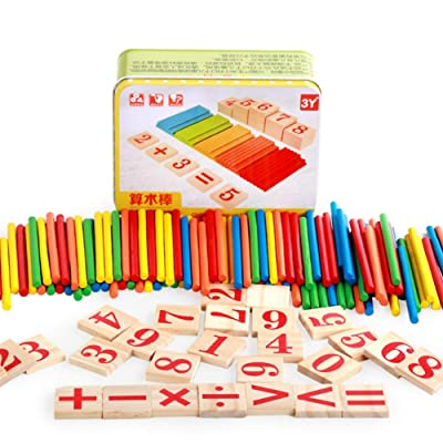 Novobey Counting Stick Wooden Toy Iron Box Educational Arithmetic Rods Math Toys Kid Birthday Gift: Toys & Games