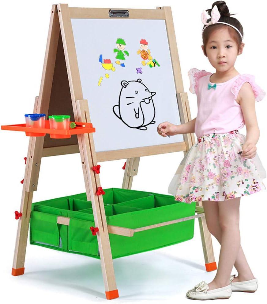 子どもの絵板 幼児教育玩具多機能ポータブル折りたたみ木製アート落書きボード大ホーム高級立ち磁気両面イーゼル 子供用イーゼル (サイズ : H-145CM Package 1)