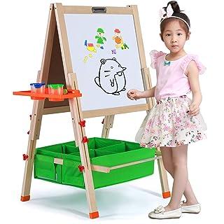 Quadro bianco e nero in legno bifacciale per bambi Cavalletto pieghevole in legno per cavalletti artistici di lusso per bambini con lavagna, lavagna e contenitori o vassoio, cavalletto con lettere mag