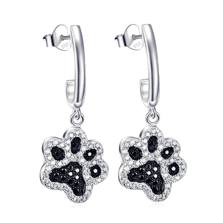 SL-Silver Earrings 925Silver Paw Print Bone Set in Gift Box FveISP04Is