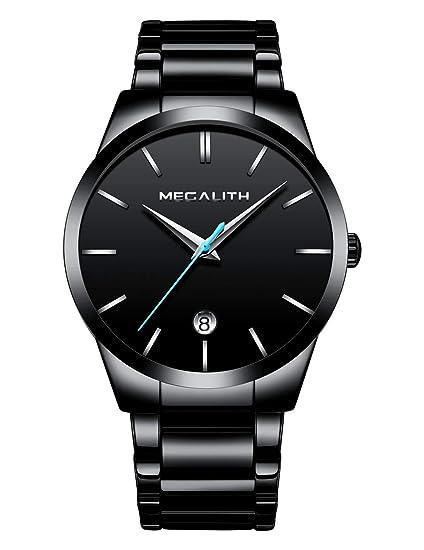 Relojes Hombre Relojes de Pulsera Deportivos Impermeable Fecha Acero Inoxidable Negro Reloj Analogico Hombre Elegante Simple Clásico con Puntero Azul