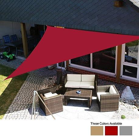Yeahmart Sun Shade Sail Impermeable Jardín al Aire Libre Patio Fiesta Protector Solar Awing 3x3x3m Triángulo Toldo 98% Bloque UV con Cuerda Libre (Color Rojo): Amazon.es: Jardín