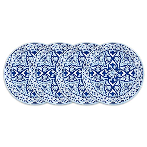 Q Squared Talavera in Azul BPA-Free Melamine Salad Plate, 8-Inches, Set of 4, Blue and White