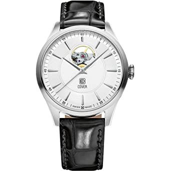 b4bb582234f Image Unavailable. Image not available for. Color  Cover Men s Aragon Open  Heart 40mm Black Leather Band Steel Case Automatic White Dial Analog Watch