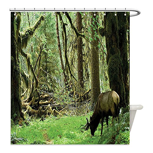 Liguo88 Custom Waterproof Bathroom Shower Curtain Polyester Rainforest Decorations Roosevelt Elk In Rainforest Wildlife National Park Washington Antlers Theme Decor Green Brown Decorative bathroom - Costumes And Display Roosevelt