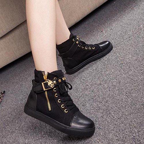 Zip Unie Couleur zahuihuiM Dentelle Noir Haut Sandales Sneakers Femmes Chaussures Automne Haut Appartements Jusqu'à Mode xwpqA