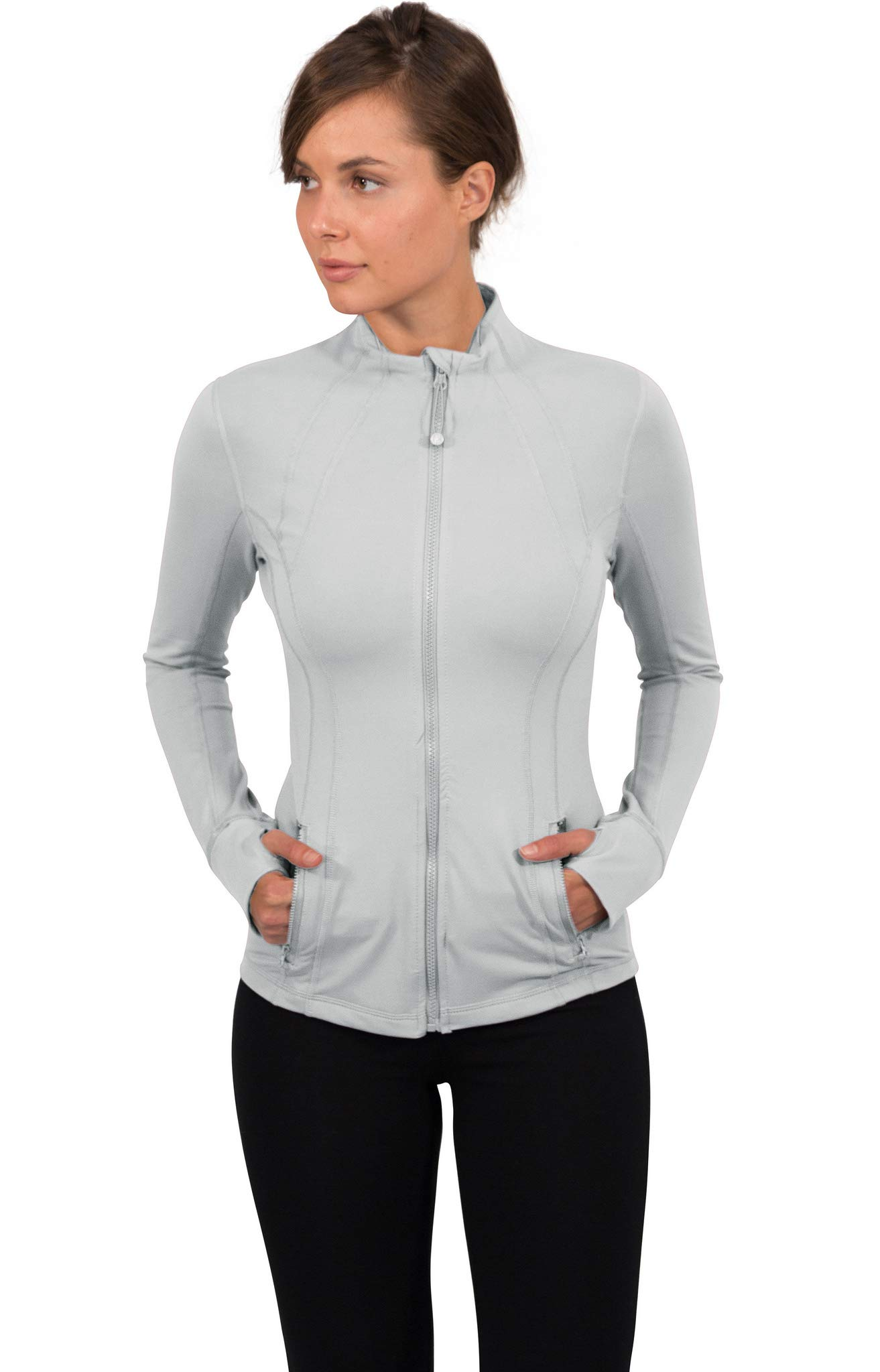 90 Degree By Reflex Women's Lightweight, Full Zip Running Track Jacket - Silver Lilly - XS