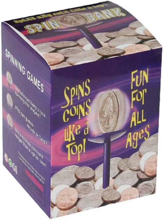 Purple TOYANDONA Kids Spin Bank Creative Piggy Bank Money Saving Box Coin Collection Box for Kids Children
