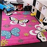 Tappeto Bambina Per Stanza Bambini Con Farfalla E Fiori Rosa Fuchsia Blu Crema, Dimensione:80x150 cm