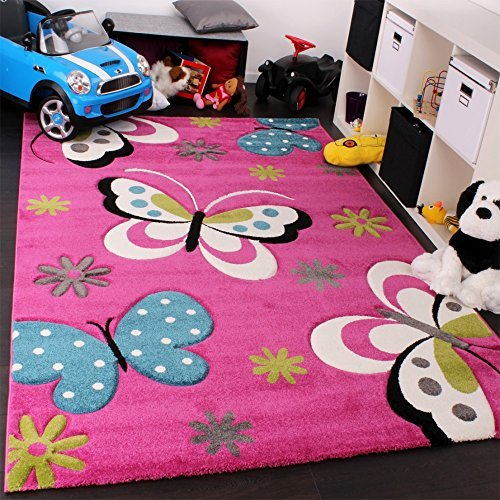 Children S Rug With Butterfly Design Pink Green Blue Grey