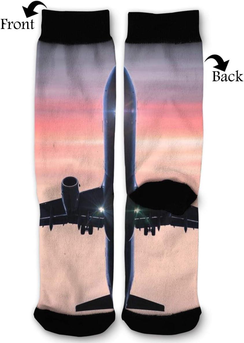 BLongTai Knee High Compression Socks Plane Flight Sky for Women and Men Sport Crew Tube Socks