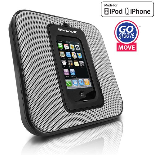 GOgroove MOVE Sleek Portable and Wall Mountable SonusMAX Speaker System for Apple iPhone and iPod - Works for all generation iPods / iPhone 3 , 3GS , 4 , 4S