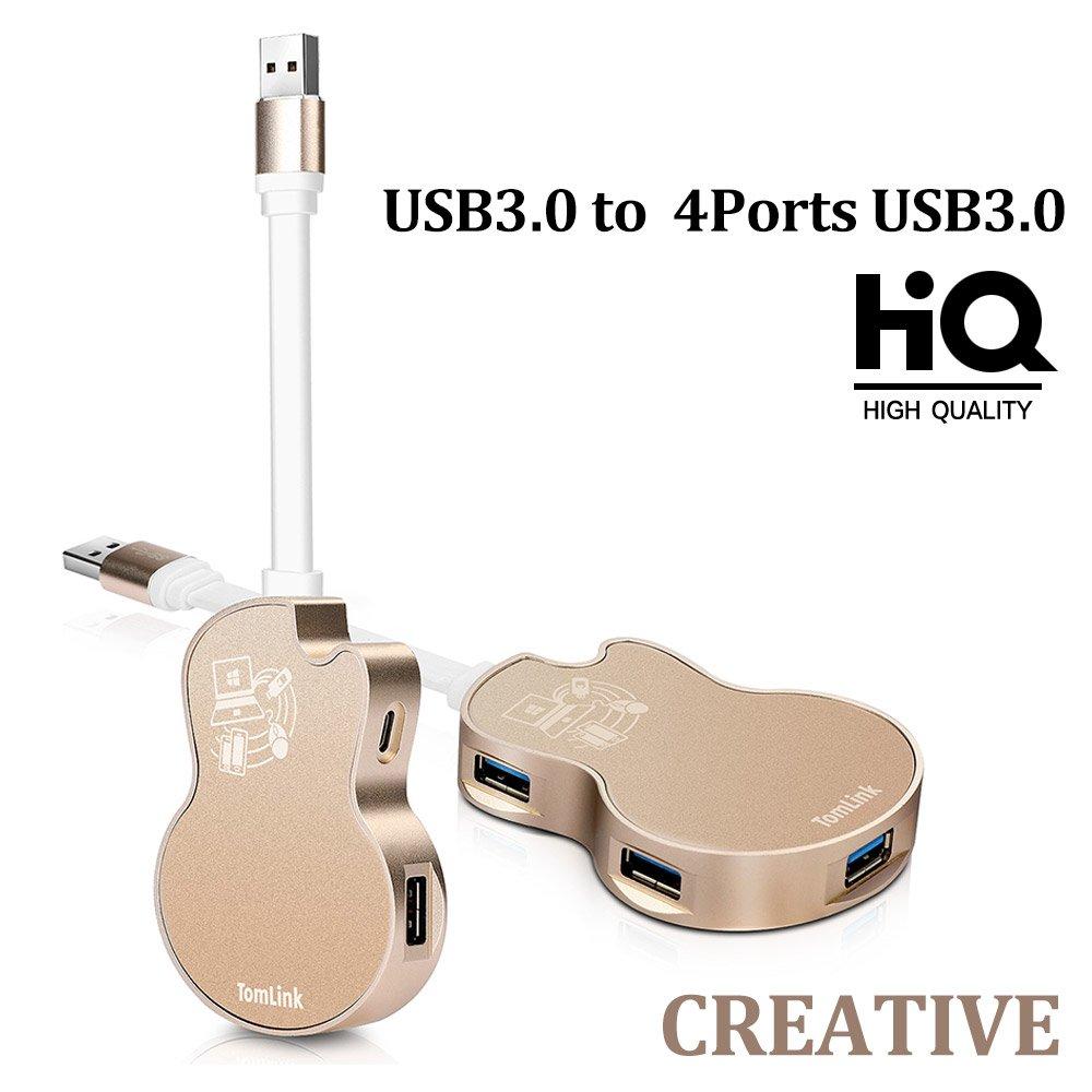 USB3.0 to 4-ports USB3.0 HUB adapter–2018 New Unique Guitar Design USB HUBs GYS-003 Professional USB HUB Extender Business Gift/Boss's Office Desktop Decoration/Music lovers Gift GYS-003-Gold
