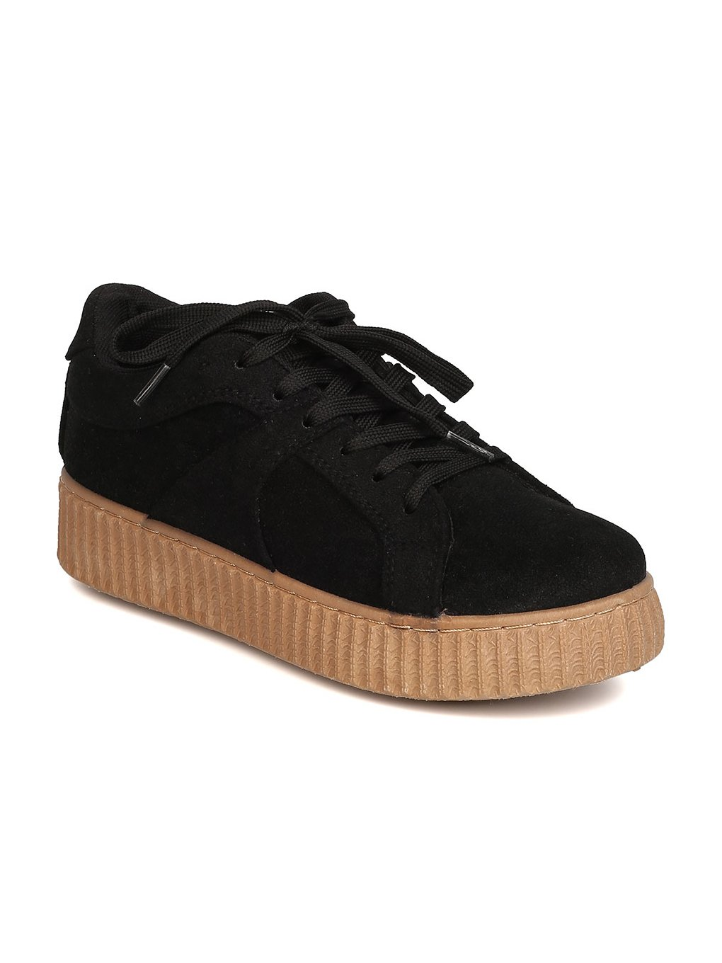 Qupid Women Faux Suede Lace up Flatform Sneaker GB87 B01N33XFA5 8.5 M US|Black
