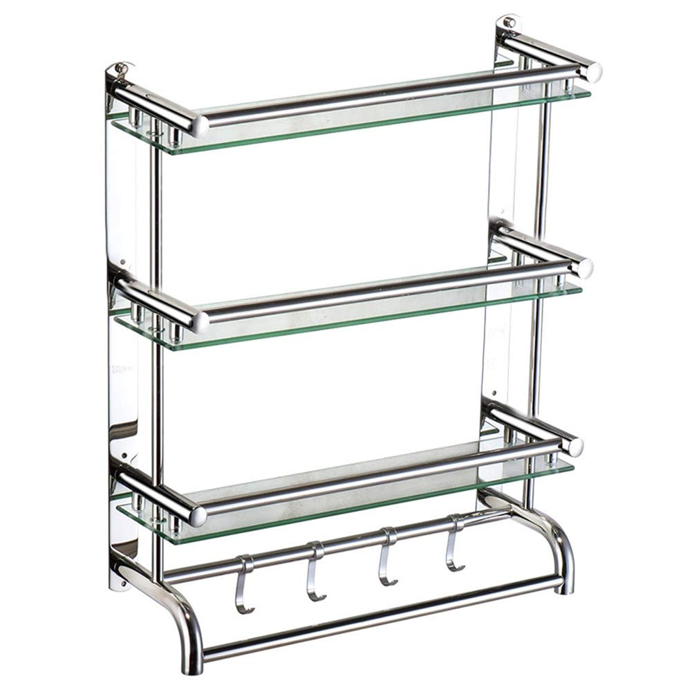 ZHANWEI Bathroom Shelves Shower Organiser Tempered Glass 1/2/3 Tiers Towel Racks Wall-Mounted Storage Rack, 3 Sizes (Color : C, Size : 60cm)