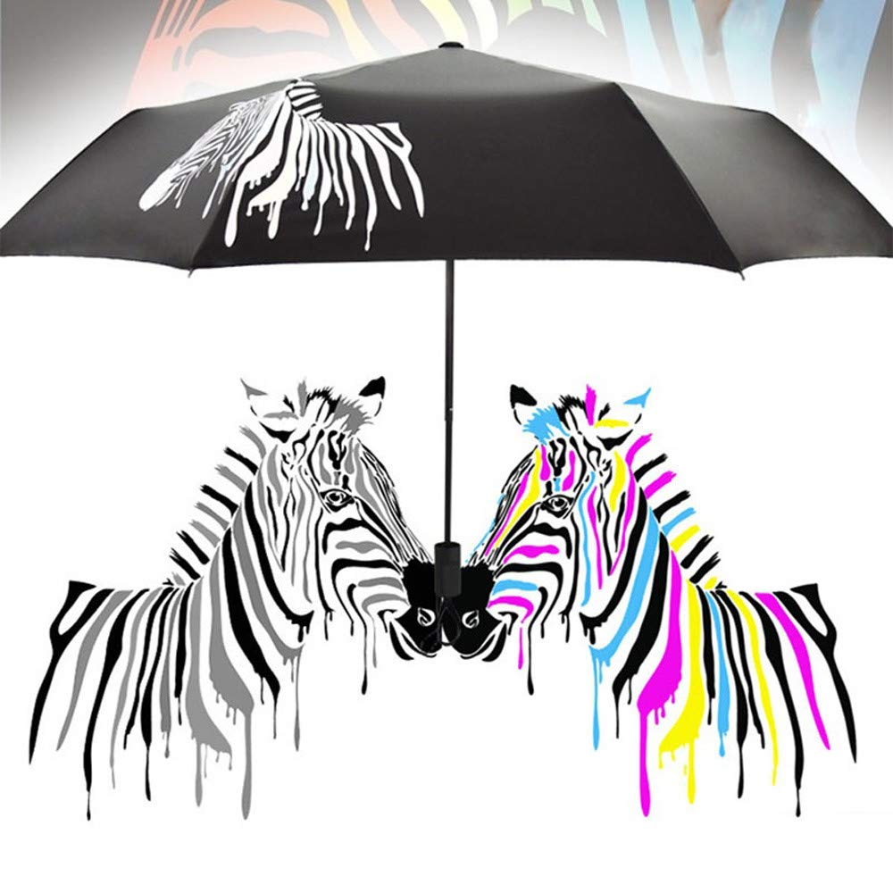 Tpingfe Color Changing Folding Umbrella Sunshade Zebra Parasol Rain Shade Anti-UV