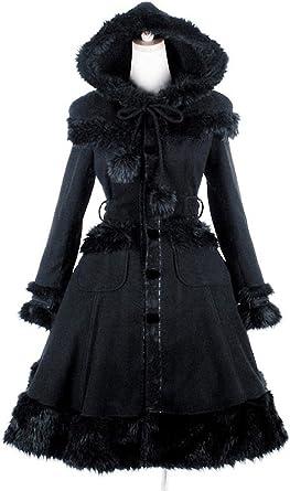 Pyon Pyon Manteau Noir Gothique Lolita avec Fausse Fourrure