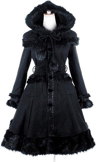 Manteau gothique lolita noir PUNK RAVE avec fausse fourrure
