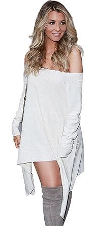 8bd4477f5a6e0 Sexy Long Sleeve Off The Shoulder Irregular Handkerchief Hem Mini Babydoll  Swing Trapeze Maternity Dress White