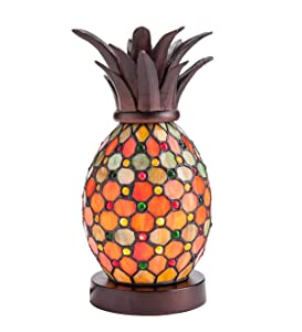 Plow & Hearth Pineapple Stained Glass Accent Lamp - 6'' Dia. x 12''H