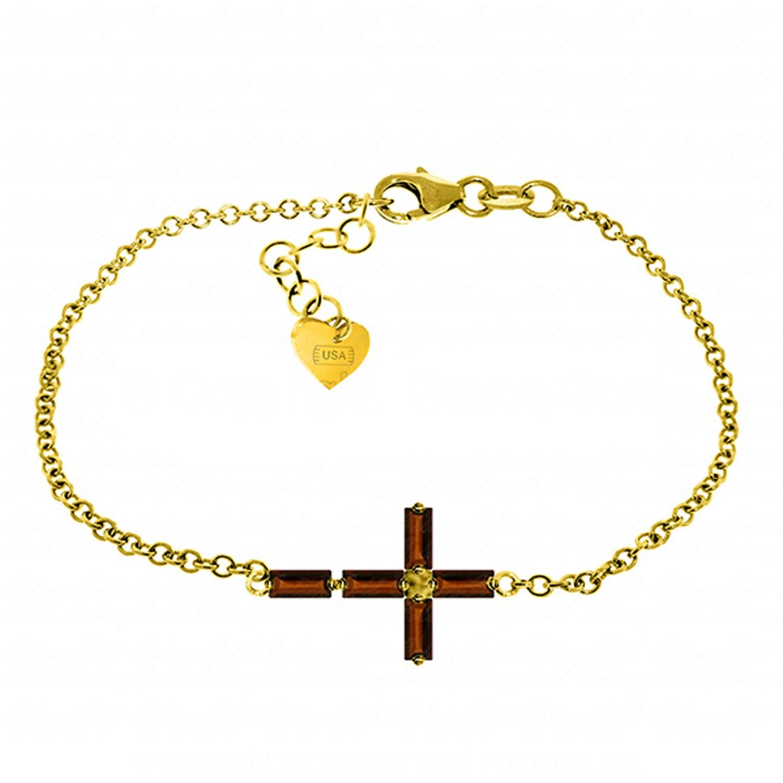 ALARRI 1.15 Carat 14K Solid Gold Horizontal Cross Garnet Bracelet Size 8.5 Inch Length
