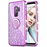 Maxdara Galaxy S9 Plus Case, Galaxy S9 Plus Glitter Case Sparkle Shiny Bling Diamond Rhinestone Bumper Girls Women Case Ring Holder Grip Stand Case Cover for Samsung Galaxy S9 Plus 6.2 inch (Purple)