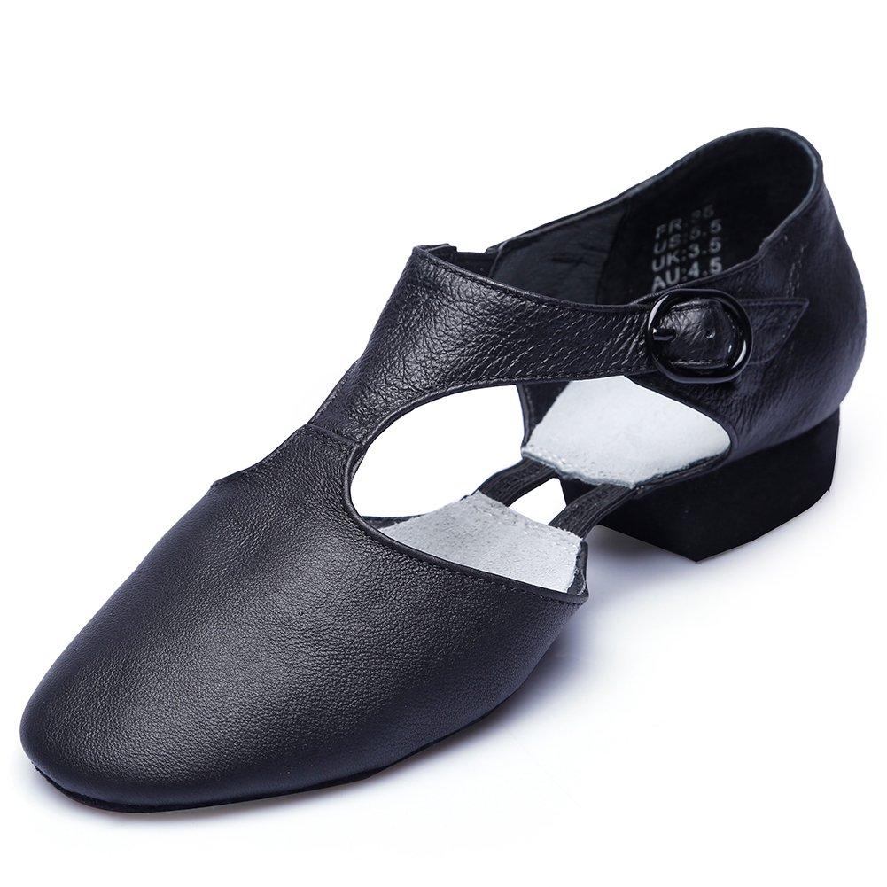Womens T-Strap Leather Jazz Dance Shoes,Black,8 M US Women