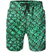 be9d6ff2f9 Bright Green Pastel Mermaid Men's Printing Quick Dry Beach Board Shorts  Swim Trunks