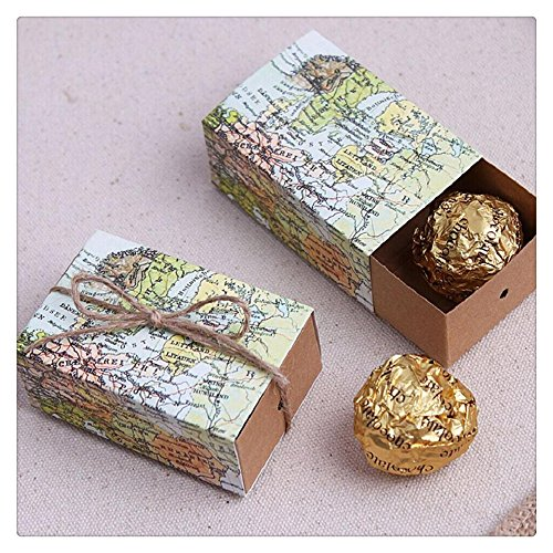 FTXJ 20 Pcs Retro World Map Wedding Party Favors Candy Cookies Kraft Gifts Boxes